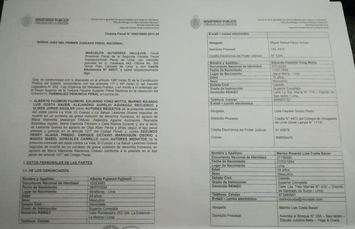 Fiscal formaliza denuncia penal contra Fujimori por esterilizaciones forzadas