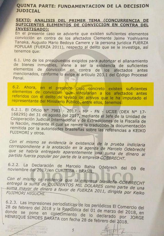 Documento que autoriza allanamiento de los inmuebles de Jaime Yoshiyama y Augusto Bedoya / Fuente: Ojo Público
