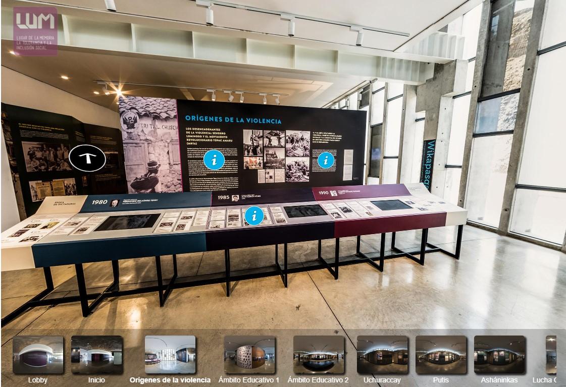 La visita virtual al LUM en 360°está habilitada desde agosto de 2016. En ella se puede recorrer los espacios del museo así como su muestra permanente. (lum.cultura.pe/visita360)