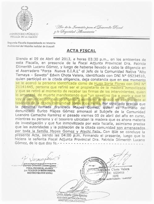 PELIGRO. En un acta de la fiscalía ambiental de Ucayali, de abril del 2013, se dejó constancia de una amenaza directa contra la vida de Edwin Chota por parte de Hugo Soria Flores. (Captura: Fiscalía ambiental de Ucayali)