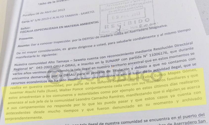 RECURRENCIA. En la denuncia ambiental de los dirigentes de Saweto también se mencionaba las constantes amenazas que enfrentaban. (Captura: Fiscalía Ambiental de Ucayali)