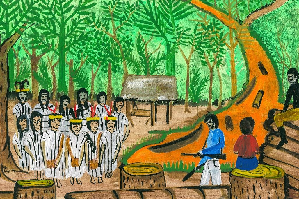 ENFRENTAMIENTO. Los miembros de la comunidad habían sido amenazados en diferentes ocasiones por los madereros que operaban en la frontera de Perú y Brasil. (Ilustración: Enrique Casanto Shingari)