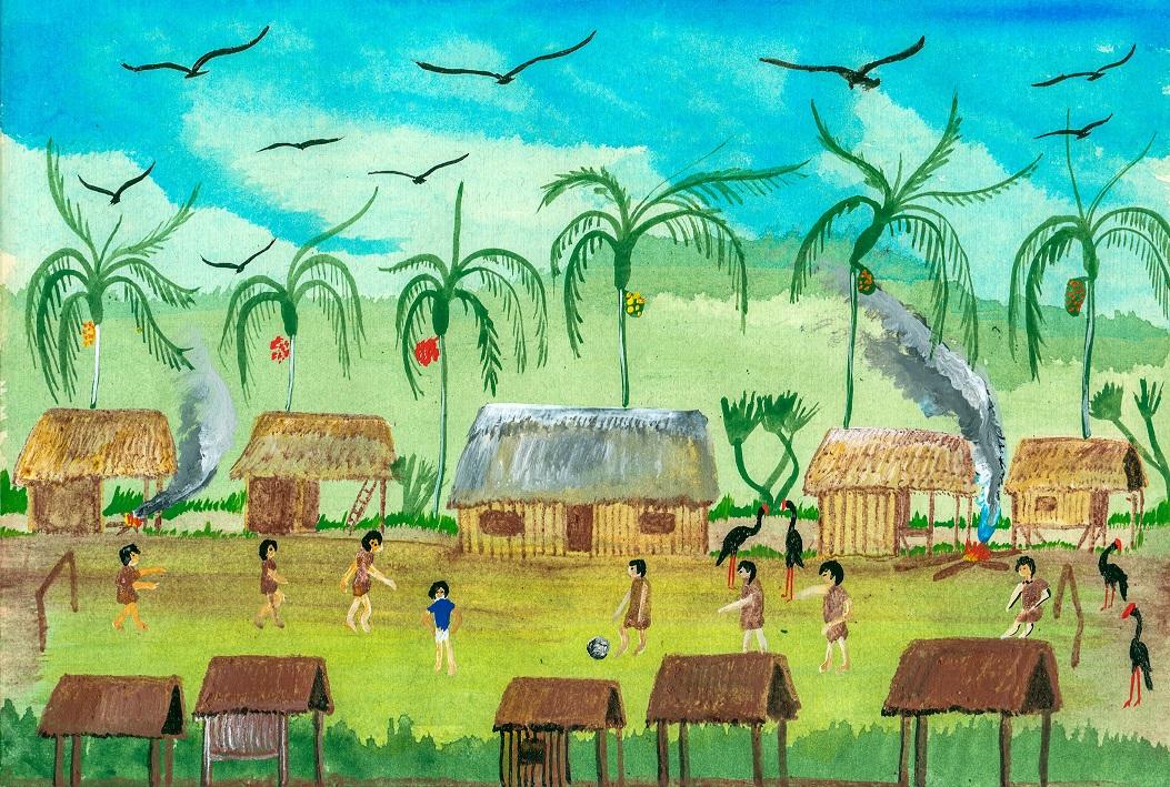 ASHÉNINKAS. Representación de Alto Tamaya Saweto, comunidad ubicada en la frontera con Brasil. (Ilustración: Enrique Casanto Shingari)