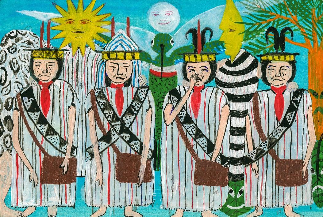 VÍCTIMAS. De acuerdo a la cosmovisión ashéninka, los dirigentes asesinados hoy representan a cuatro guerreros que murieron por defender su tierra. (Ilustración: Enrique Casanto Shingari)
