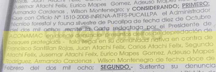 DENUNCIADOS. Los dirigentes de Saweto acusaron desde el 2008 a los hermanos Atachi Felix y Eurico Mapes Gómez, como taladores en la frontera. Son los principales sospechosos del asesinato. (Captura: Expediente de la investigación penal)