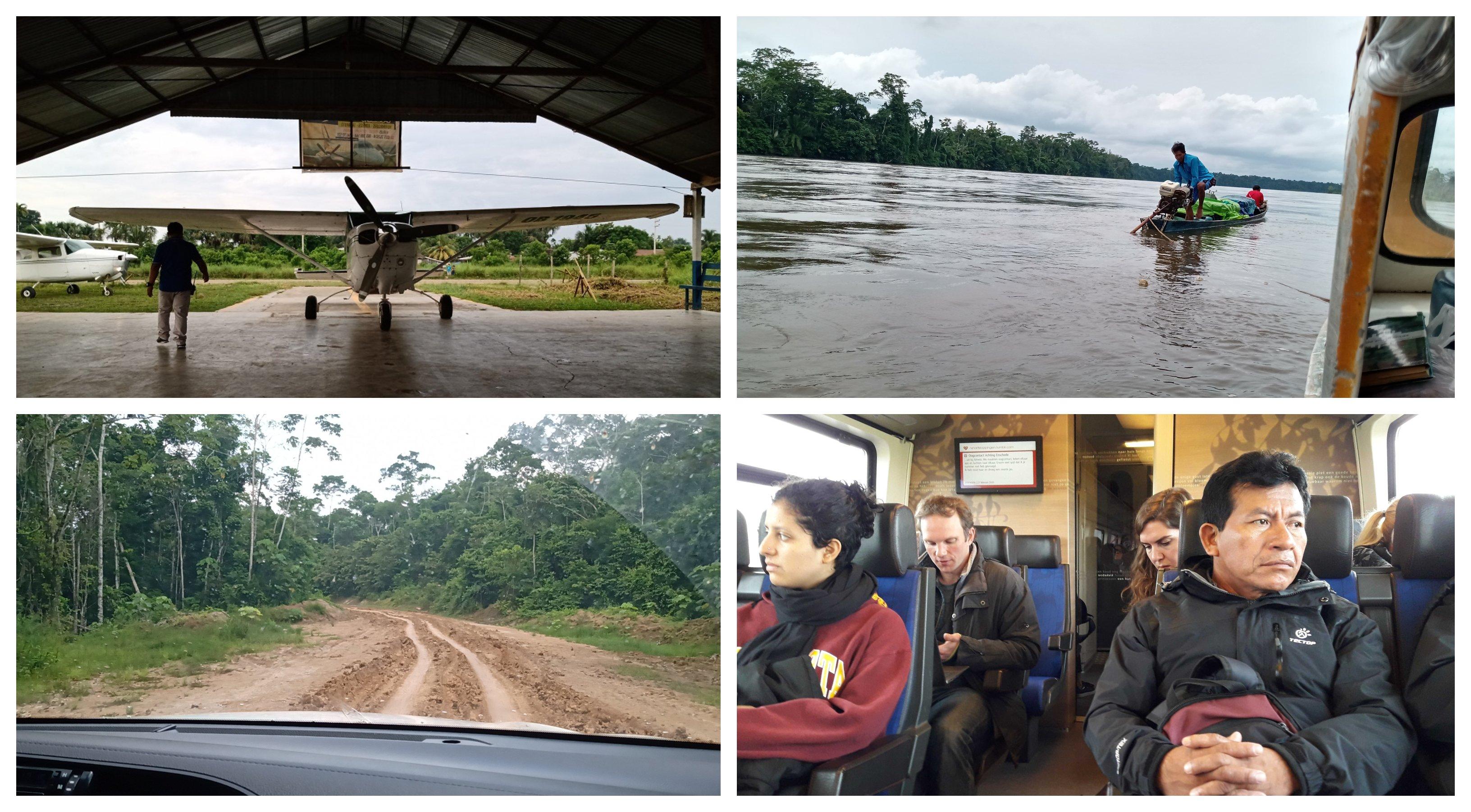 Cuatro fotografías de la ruta de Aurelio Chino desde Loreto hacia Países Bajos