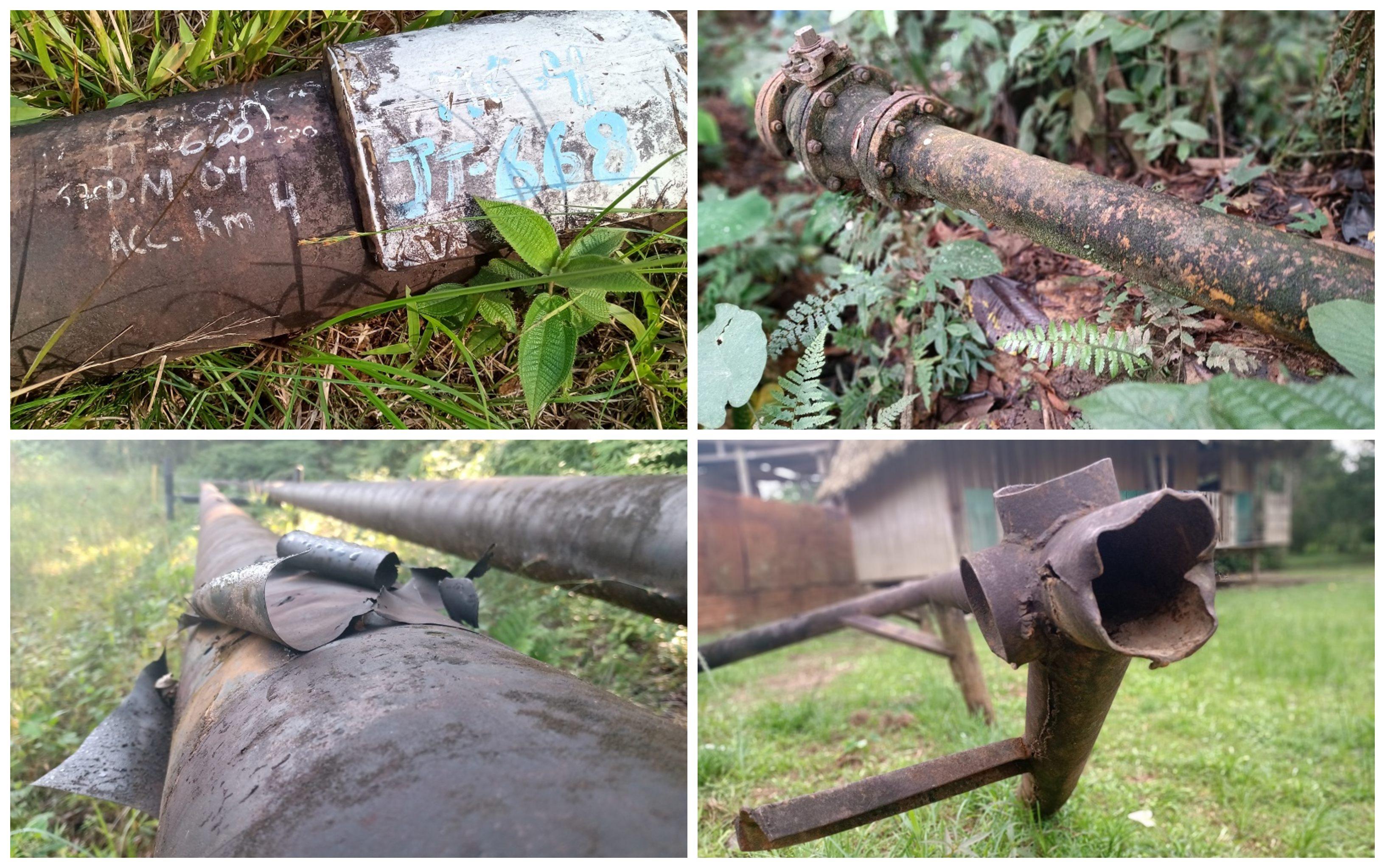 Fotografía collage de tuberías oxidadas.