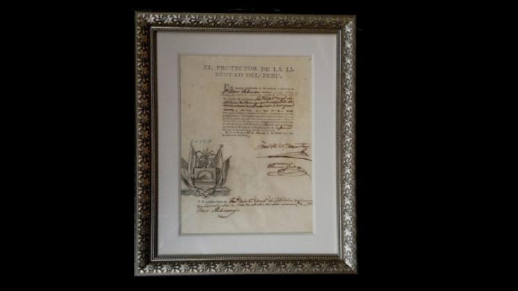 JOYA. Nueva pérdida de un documento firmado en 1821 por el Libertador San Martín.