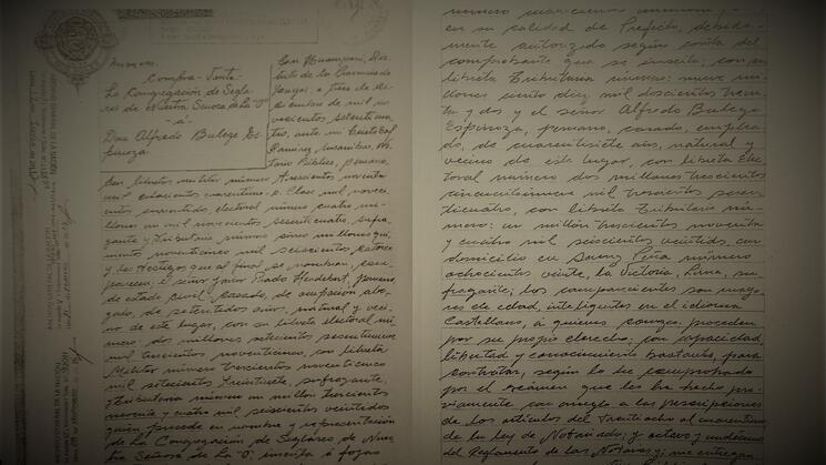 RASTRO. Copia de los folios 801 al 806 del protocolo notarial Ramírez Susaníbar, ahora perdidos.